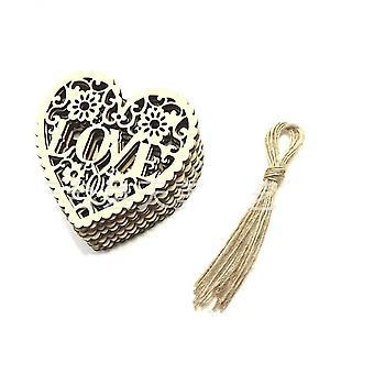 10st / mycket Trä Kärlek Carving Diy Smycken Tillbehör Bröllopsvårdsdekoration