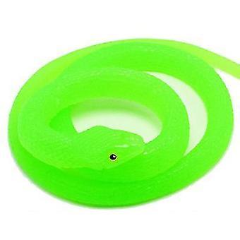 Realistisk Gummi Fake Snake Legetøj til Haven Rekvisitter og praktisk Joke (Grøn)