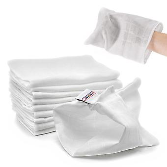 Baby Waschlappen Set - 10 Stück weiche Mull Waschhandschuhe aus 100% Baumwolle, kleine Kinder