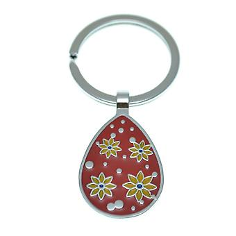 Nektar Drop with Flowers Figured Key Chain, Key Holder, Measuring 3.5 cm in diameter with a capacity of 6-7 Key, Red White Yellow