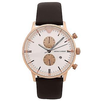 Emporio Armani AR0398 Brown Leather White Dial Chronograph Men's Watch