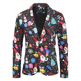 Mile Christmas Suit Party Mens Funny Novelty Xmas Jacket Costume, Ugly Christmas Suit Black