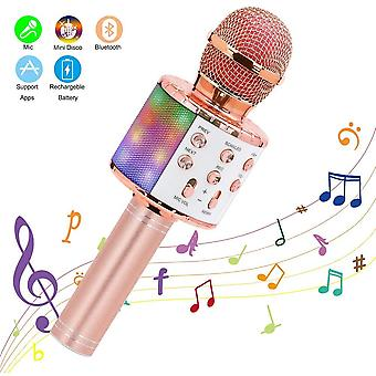 Wireless Karaoke Microphone Bluetooth Handheld Portable Speaker Home Ktv Player With Dancing Led Light Recording Function For Children