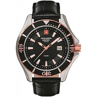 Swiss Alpine Military Negro Cuero Genuino 7040.1557SAM Reloj de Hombre