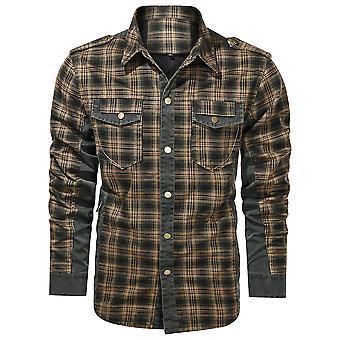 Mile Herren Gesteppte gefüttert Flanell Hemd Jacke Langarm Plaid Button Up Jacken