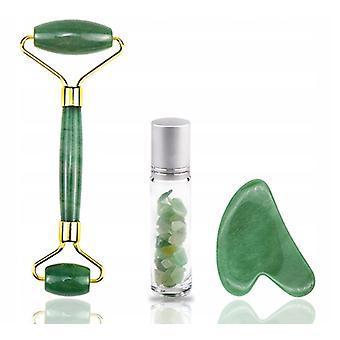 Jade Roller Grattoir à huile essentielle Ensemble de trois pièces (vert)
