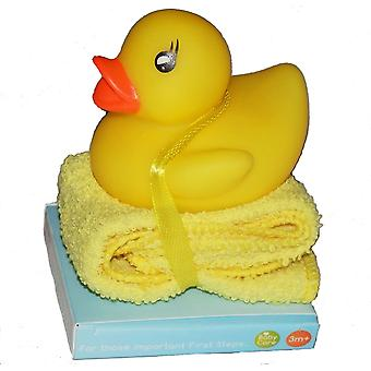 First Steps Bathtime Fun Bath Duck toy and Baby Washcloth 3m+ Gift