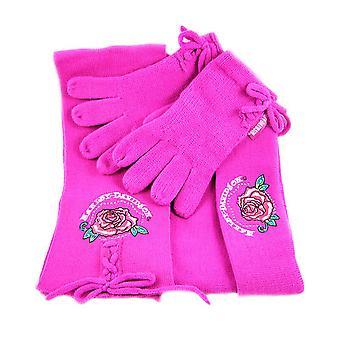 Hot Pink Harley Davidson Knit Scarf, Gloves, Hat Set