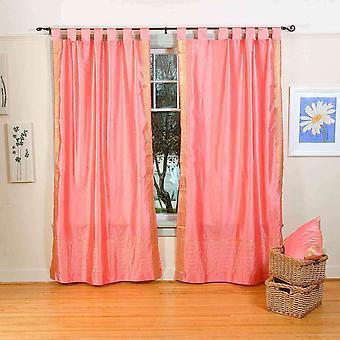 ピンクのタブ上の薄いサリー カーテン/ドレープ/パネル - ピース