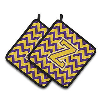 Letter Z Chevron Purple and Gold Pair of Pot Holders