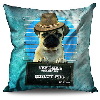 Pug Animal Criminal Linen Cushion 30cm x 30cm | Wellcoda