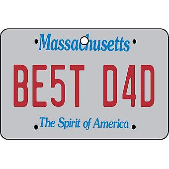Massachusetts - Best Dad License Plate Car Air Freshener