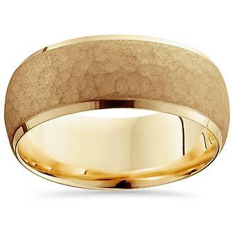 Mens 14K Yellow Gold 7MM Hammered Bevel Comfort Wedding Ring Band