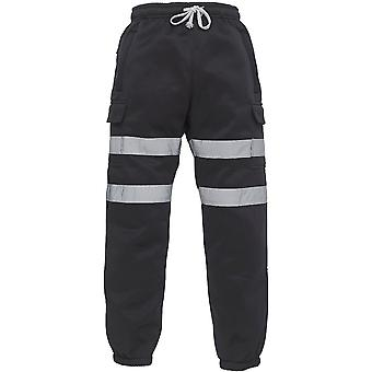 Yoko Mens Hi Vis Elasticated Waist Railway Safety Jogging Pants