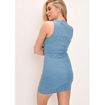 Denim Button Through Mini Dress Light Blue