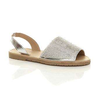 Ajvani womens flat diamante sparkly holiday beach slingback menorcan sandals