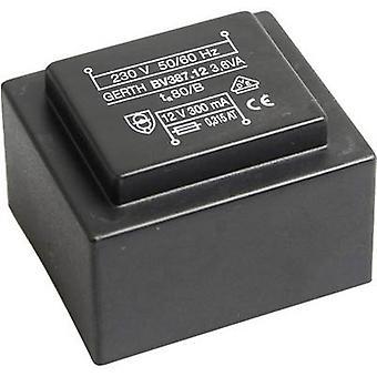 Gerth PTG382402 PCB mount transformer 1 x 230 V 2 x 12 V AC 3.60 VA 150 mA