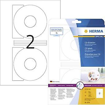 Herma CD labels 5079 Ø 116 mm Paper White 50 pc(s) Permanent Opaque Inkjet, Laser