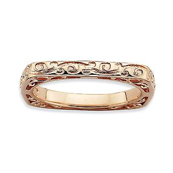2.25mm 925 Sterling Silver Patterned Stackable Expressions Polished Pink plate Square Ring Jewelry Gifts for Women - Rin