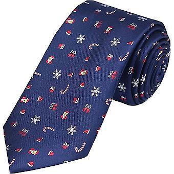 David Van Hagen Christmas Silk Tie - Navy