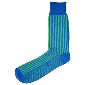 Bassin and Brown Vertical Stripe Socks - Blue/Green
