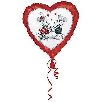 Helium party balloon heart balloon motif Mickey and Minnie mouse 45 cm
