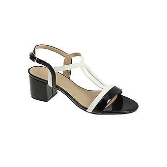 JLE063 Clarke dames opgevuld slimme Patent Strappy Fashion blok hak sandalen
