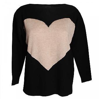 Latte Heart Design Round Neck Knit Jumper