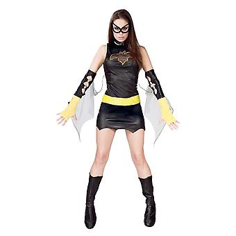 Womens zwarte superheld Fancy Dress kostuum