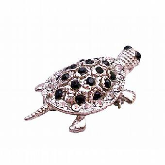 Inexpensive Silver Casting Turtle Brooch Pin & Pendant in Jet Crystal