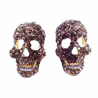 Brincos de cabeça crânio w / ametista & joias de crânio de cristais Tanzanite