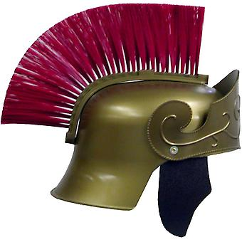Roman Helmet Gold W Red Brush For Adults