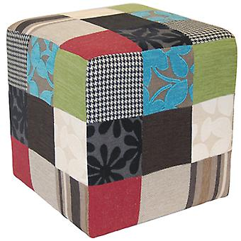 Patchwork peluche - Cube Tabouret / Pouf - bleu / vert / rouge