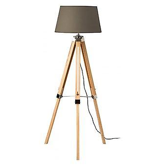 Fusion Living licht houten statief vloer lamp met grijze kap