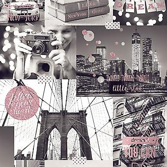 Muriva grote stad wallpaper New York foto patroon glitter motief typografie L31003