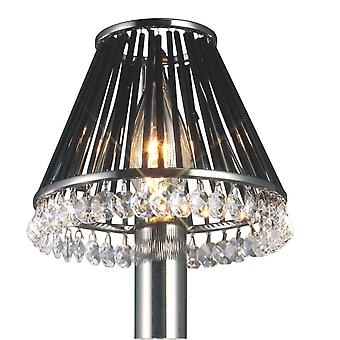 Diyas Crystal Clip-On Shade With Black Glass Rods Black Chrome/Crystal