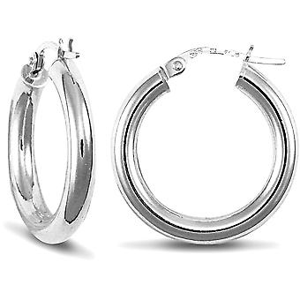 Jewelco London Ladies 9ct White Gold Polished 3mm Hoop Earrings 20mm