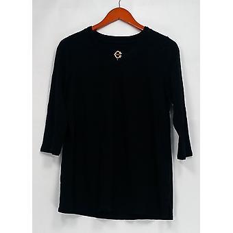 C. wonder top M Essentials Pima Cotton 3/4 mouw zwart A284181