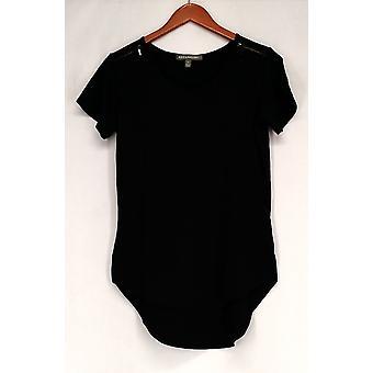 Kate et Mallory Top Short Sleeve Top - Épaule Zipper Hi Lo Hem Black A425743