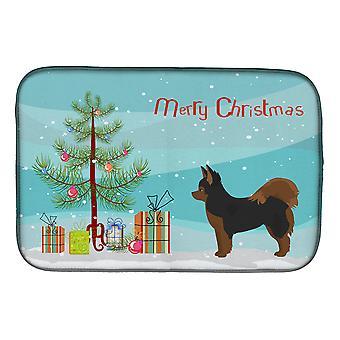 Schwarz und Tan Pomchi Weihnachtsbaum Schale Trocknung sende Matte