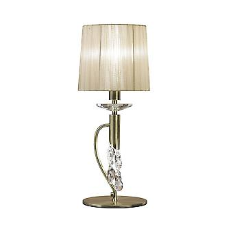 Mantra Tiffany Table Lamp 1+1 Light E14+G9, Antique Brass With Soft Bronze Shade & Clear Crystal