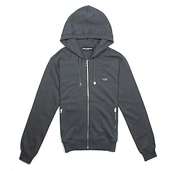 Dolce & Gabbana Metal Logo Patch Zip Up Hoodie Grey