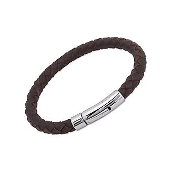 Unique & Co - Leather Men's bracelet with stainless steel closure - Length 21 cm - Brown Color