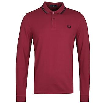 Fred Perry Twin Tipped Burgundy Long Sleeve Polo Shirt