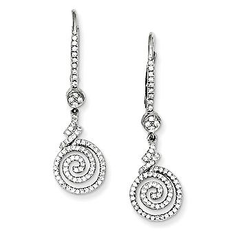 925 Sterling Silver Rhodium plated and CZ Cubic Zirconia Simulated Diamond Swirl Leverback Earrings Jewelry Gifts for Wo