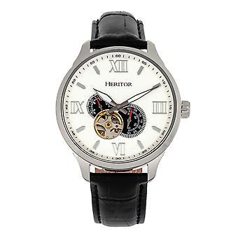 Perinnöor automaattinen Harding semi-Skeleton nahka-Band Watch-hopea/valkoinen