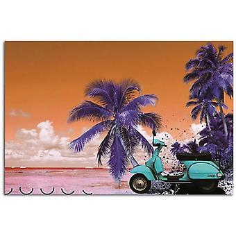 Painel do deco, scooter na praia