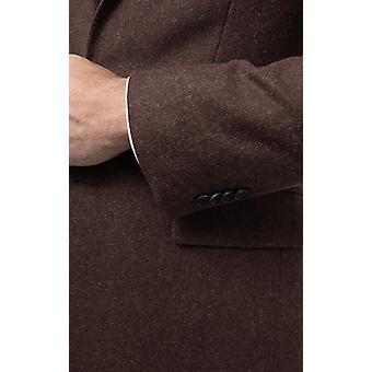 Dobell hombres marrón franela traje chaqueta de ajuste regular