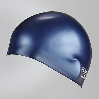 Speedo Junior Plain Moulded Silicone Hydrodynamic Durable Swimming Cap -Navy