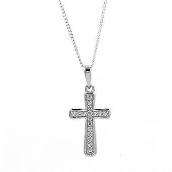 Eeuwigheid sterling zilver Cubic Zirconia Kruis hanger en 18 ' ' keten